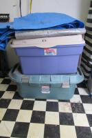 10 +/- assorted tarps and plastic totes