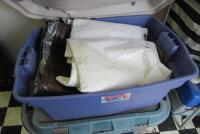 10 +/- assorted tarps and plastic totes - 3