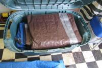 10 +/- assorted tarps and plastic totes - 4