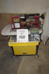 "Central Machinery 7"" x 10"" precision mini lathe on roll-a-round cabinet"