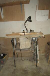 Craftsman electric router on table stand with work light and dust collection bag