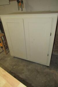 Handcrafted cabinet on casters **contents not included**