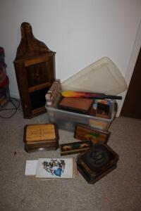 Wood projects including corner shelf, jewelry boxes