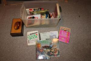 Cookbooks and wooden recipe box