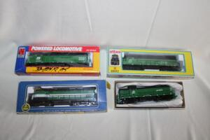 4 train engines, HO scale