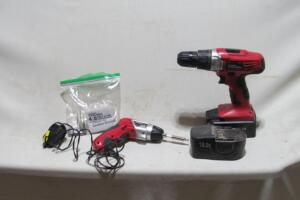 2 Hyper Tough items, 4-volt cordless screwdriver with charger