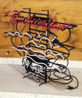 "Electric Neon Budweiser At The Lake Sign, 25"" x 30"", Needs Repair, - 3"