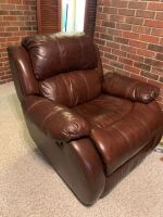 BROWN LEATHER RECLINER - 2