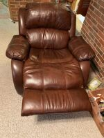BROWN LEATHER RECLINER - 3