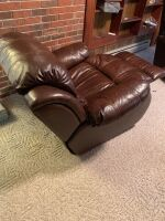 BROWN LEATHER RECLINER - 4