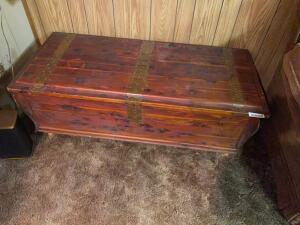 Antique Cedar chest, with brass strapping, 49 inches wide