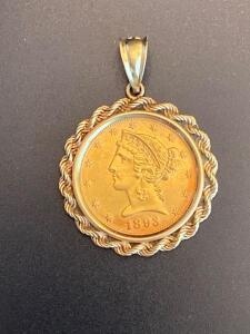1893 $5 dollar Liberty gold coin in 14 k gold bezel