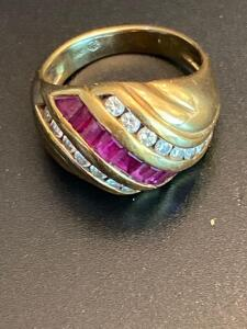 14 karat yellow gold diamond and ruby ring