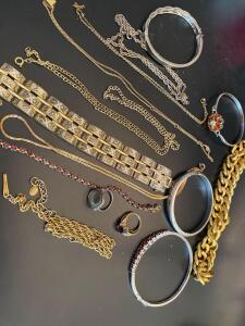 A grouping of costume jewelry