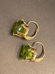 Pair of 14 karat gold earrings with green stone