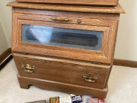 Eight gun cabinet with glass front and lower storage Has key, measures 23 x 18 x 80 Also included are gun cleaning accessories and leather holster - 3