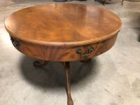 SOLID WOOD ROUND COFFEE SIDE TABLE WITH DRAWER