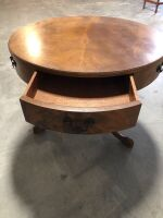 SOLID WOOD ROUND COFFEE SIDE TABLE WITH DRAWER - 2