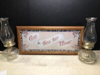 "TWO CLEAR GLASS OIL LAMPS AND A ""GOD BLESS OUR HOME"" SIGN (3)"
