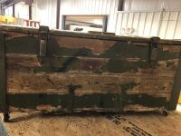 VINTAGE GREEN WOOD AND METAL ARMY TRUNK ON WHEELS AND WOOD HANDLES