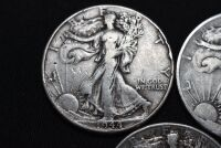 FIVE WALKING LIBERTY SILVER HALF DOLLARS - 2
