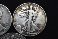 FIVE WALKING LIBERTY SILVER HALF DOLLARS - 4