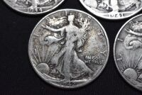 FIVE WALKING LIBERTY SILVER HALF DOLLARS - 5