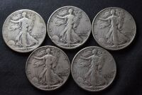 FIVE WALKING LIBERTY SILVER HALF DOLLARS