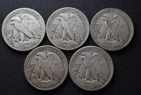 FIVE WALKING LIBERTY SILVER HALF DOLLARS - 7