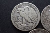 FIVE WALKING LIBERTY SILVER HALF DOLLARS - 8