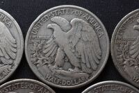 FIVE WALKING LIBERTY SILVER HALF DOLLARS - 10