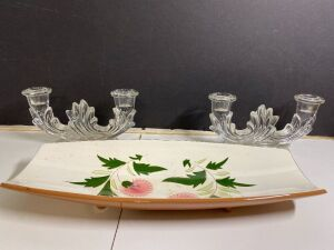 STANGL POTTERY  'THISTLE' PLATTER AND ETCHED GLASS CANDLE HOLDERS