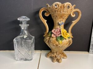 GENUINE LEAD CRYSTAL DECANTER AND ITALY MADE FLORAL VASE