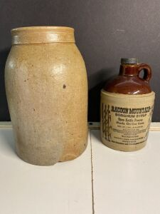 STONEWARE CROCK AND A RACCOON MOUNTAIN SYRUP JUG WITH LID