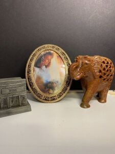 CARVED MARBLE ELEPHANT, BANK REPLICA AND DECORATIVE PICTURE FRAME