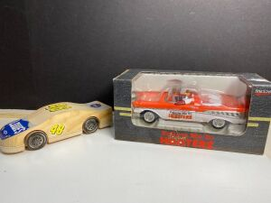 HOOTER REPLICA CAR IN BOX AND WOOD RACING CAR