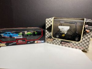 RUSTY WALLACE DIE CAST GOLF CART AND NASCAR RICHARD AND KYLE PETTY CARS