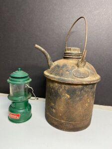 OLD COAL OIL CAN AND AVON COLEMAN LANTERN BOTTLE