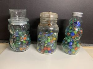 BOTTLES OF ASSORTED MARBLES (3)