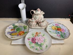 CHINA TEAPOT SET AND HAND PAINTED WALL PLATES AND VASE