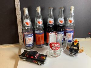 RC COLA BOTTLE COLLECTION, VINTAGE CAR REPLICAS AND CINCINNATI REDS MUG