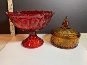 "RED FOSTORIA 9"" FOOTED COMPOTE AND AMBER COVERED CANDY DISH"