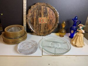 GENUINE CHRYSANTHEMUM WOOD TRAY AND VARIOUS GLASSWARE LOT