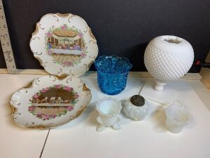 WHITE MILK GLASS PEDESTAL VASE AND VINTAGE BLUE CUT GLASS DISH AND VINTAGE OPALESCENT ITEMS