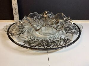 2 VINTAGE FLORAL SILVER OVERLAY ON GLASS AND PINK DEPRESSION GLASS PLATTER