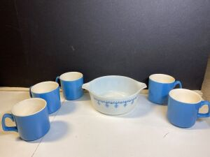 VINTAGE BLUE PYREX AND COFFEE CUPS