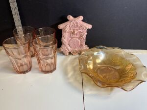 AMBER COLORED LILAC FRUIT BOWL, DRINKING GLASSES, WALL PLANTER OF CLOCK