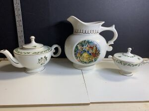 MCCOY PITCHER AND 2 PIECES OF CAMEO ROSE CHINA