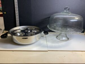 CAKE PLATE WITH GLASS COVER AND EGG POACHER / STEAMER