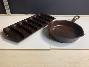 CAST IRON WAGNER WARE SKILLET AND CORN STICK PAN